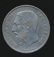 BELGIE LEOPOLD II  5 FRANC  1868    MOOIE KWALITEIT  2 SCANS - 1865-1909: Leopold II