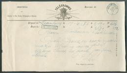 Télégramme Du Bureau De CHATELINEAU (griffe Bleue) Déposé à Luxembourg Le 19-4-1876 + Càd Télégraphique CHATELINEAU * 19 - Telegraphenmarken