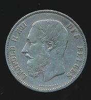BELGIE LEOPOLD II  5 FRANC  1874    TOP KWALITEIT  2 SCANS - 1865-1909: Leopold II
