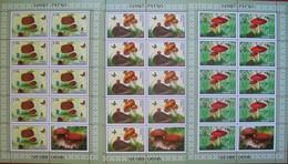Tajikistan  2019  Mushrooms ( Butterflies, Hedgehog, Frog)  3 M/S Perforated   MNH - Tadschikistan