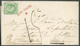 N°20 - 5 Centimes Vert Obl. Dc PARIS S/Imprimé Du 5 Mars 1865 Vers Le Chateau De Silly; Taxée '15c.' + Griffe Rouge AFFR - 1862 Napoleon III