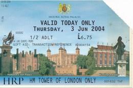 Grossbritannien London 2004 Eintrittskarte Tower Of London Jugendlich - Eintrittskarten