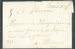 LAC De (manuscrit) Luxemb. (Luxembourg) Le 15/01/1735 Vers Malines; Port '5' - Belle Fraîcheur  - 14446 - ...-1852 Vorphilatelie