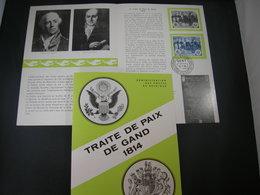 """BELG.1964 1286 Feuillet Fr.de La Poste (Gent) :"""" Traité De Paix De Gand 1814 """" - FDC"""
