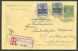 OC N°2-4 En Affranchissement Compl. Sur E.P. Carte Belge 5 Cent. Pellens Obl. Càd All. De MAUBEUGE (Frankreich) En Recom - [OC1/25] Gen.reg.