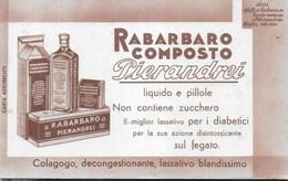 PUBBLICITA' FARMACO RABARBARO COMPOSTO PIERANDREI  SU CARTA ASSORBENTE NUOVA - 21,50X13 - F