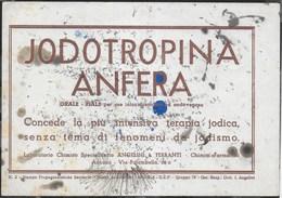 PUBBLICITA' FARMACO ANGELINI & FERRANTI - JODOTROPINA ANFERA -  SU CARTA ASSORBENTE USATA - 20,50X14,50 - F