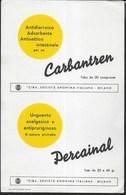PUBBLICITA' FARMACI CARBANTREN - PERCAINAL CIBA -  SU CARTA ASSORBENTE NUOVA - 22,50X14,50 - F