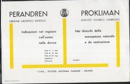 PUBBLICITA' FARMACI PERANDREN-PROKLIMAN CIBA -  SU CARTA ASSORBENTE NUOVA - 22,50X14,50 - Carte Assorbenti