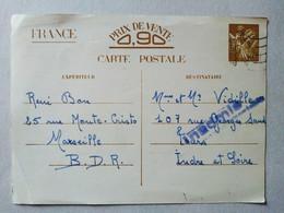France- Entier Postal IRIS 1940 - Indre-et-Loire- Marseille - Cachet Inadmis. BE - Marcophilie (Lettres)