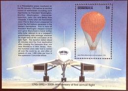 Dominica 1993 Aviation Anniversary Aircraft Balloon Minisheet MNH - Dominica (1978-...)