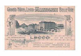 CARTOLINA PUBBLICITARIA POST CARD CARTE POSTALE GRAND HOTEL MAZZOLENI LECCO - Pubblicitari
