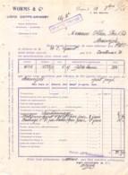 4-0820    Facture  1918 WORMS & CIE  A DIEPPE - M.OLLIER  A MARVEJOLS LOZERE - France