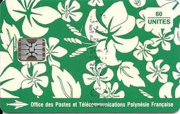 CARTE-PUCE-POLYNESIE-PF18b-60U-SC5-S/Entourage-PAREO VERT Brillant-9 N° RougeN°C41043825-TBE- - Polynésie Française