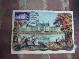 1952 Chateau Chambord 1 Er Jour Carte Maximum - Cartes-Maximum