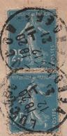 25c Bleu SEMEUSE Camée Yvert 140 TYPE IB (carnet) En Paire / Lettre Recommandée Vendée 1921 - Francia