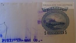 ZA222.25 NICARAGUA. 1903  Granada - Managua - 5c Blue Stationary Envelope Sent To Bordeaux France - Nicaragua