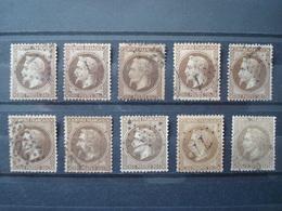 FRANCE 1863-1870 10 X 30 C. USED COT. 250 EUR NAPOLEON III Lauré - 1863-1870 Napoléon III Lauré