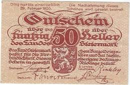 Austria 50 Heller 17-10-1919 Steiermark Pk-s 138 D II Auflage UNC - Austria