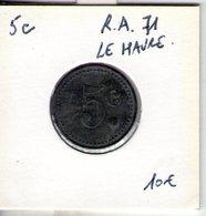 Jeton Du 71e Régiment D'artillerie. Le Havre. 5c - Monétaires / De Nécessité