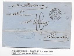 URUGUAY - 1868 - LETTRE SC De MONTEVIDEO => NANTES Avec AGENCE FRANCAISE PAQ FR K N°1 - MARITIME - Marcophilie (Lettres)