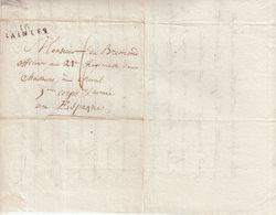 """FRANCE : MP . """" 16 SAINTES """" . POUR UN OFFICIER DU 5 ème CORPS D'ARMEE D'ESPAGNE . 1811 . - Marques D'armée (avant 1900)"""