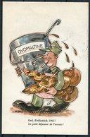 1965 Switzerland Ovomaltine Comic Army Postcard - Geneve. Lausanne Caserne Poste Militaire - Documents