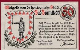 Allemagne 1 Notgeld 50 Pfenning Stadt Bramstedt ( RARE)dans L'état Lot N °4350 - [ 3] 1918-1933 : Repubblica  Di Weimar