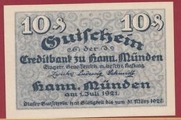 Allemagne 1 Notgeld 10 Pfenning Stadt Hann-Münden  (RARE) Dans L'état Lot N °4357 - Collections