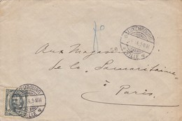 LETTRE . LUXEMBOURG. 4 4 1914.  N° 75 12 1/2c SEUL SUR LETTRE. LUXEMBOURG POUR PARIS - 1906 Guglielmo IV