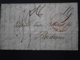 FRANCE MARQUE LETTRE ENVELOPPE LAC CACHET OBLITERATION TAMPON CAP BONNE ESPERANCE BORDEAUX TAXE CAP GOOD HOPE AFRIQUE - 1801-1848: Precursors XIX