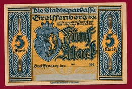 Allemagne 1 Notgeld 5 Mark Stadt Greiffenberg ( NON DATE  Pologne:Gryfow -occupation  RARE) Dans L'état Lot N °4364 - Collections