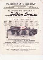 """Etablissement Delieuvin. Moto-pompes """"Incendie"""" Licence De Dion-Bouton - France"""