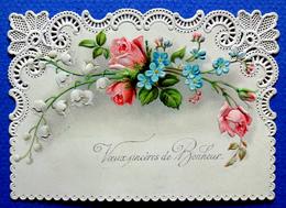 CP MIGNONETTE. ...1899....GAUFRÉE...BORDS DENTELLE...VŒUX DE BONHEUR...ROSES..MYOSOTIS..MUGUETS - Other