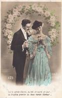 """CARTE FANTAISIE. CPA. COUPLE. SÉRIE COMPLÈTE DE 5 CARTES .  """" ROMAN D'AMOUR """".. ANNEE 1906 - Couples"""