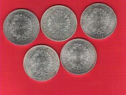 Lot De 5 Pièces 50 Francs Hercule Argent Très Bel état - M. 50 Franchi