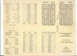 Typographic Proof - Schedule - Agenda - Portugal - 1947 - Fábrica De Fiação E Tecidos Do Rio Vizela, Lda. - Negrelos - Europe