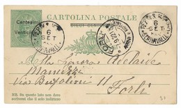 SAN MARINO - DA SAN MARINO A FORLI - 6.9.1922. - Entiers Postaux