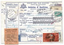 SAN MARINO - DA SAN MARINO A BRUXELLES - 4.7.1975 - VIA AEREA - RESTITUITO AL MITTENTE. - Entiers Postaux