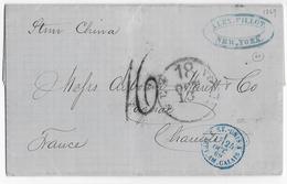"""USA - 1869 - LETTRE De NEW YORK Par STEAMER """"CHINA"""" => COGNAC (CHARENTE) - ENTREE MARITIME ET-UNIS SERV.AM.CALAIS - 1849-1876: Période Classique"""
