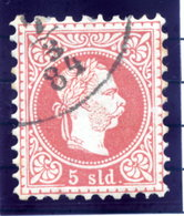AUSTRIA POST IN LEVANT   1875 Franz Joseph Fine Print 5 Soldi Used.  Michel 3 II - Levant Autrichien