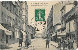 D92 - PUTEAUX - RUE DE PARIS PRISE DU BD RICHARD WALLACE-Nombreuses Personnes-Boucherie-Plusieurs Magasins - Puteaux