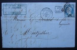 Toulouse 1859 Montaubric Durrieu & Lacombe, Après Le Départ, Pour Montpellier Convoyeur Toulouse à Cette C Au Revers - Postmark Collection (Covers)