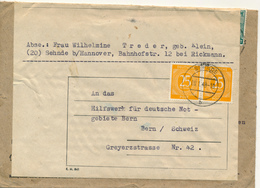 SEHNDE - 1948 , Brief Nach Bern / CH -  2x Verwendet - Zone Anglo-Américaine