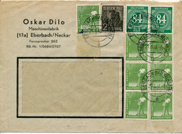 EBERBACH - 21.6.48 , Währungsreform - 10fach Frankatur - Zone Anglo-Américaine