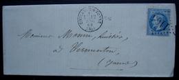 Coulange-sur-Yonne 1869 GC 1165 Pour Vermenton - Marcophilie (Lettres)