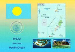 1 AK Palau * Flagge, Wappen, Landkarte Und 2 Ansichten Von Palau * - Palau
