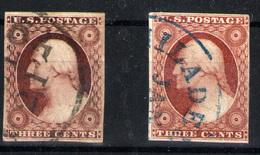Estados Unidos  Nº 4 Y 4a. Año 1851-6 - Gebruikt