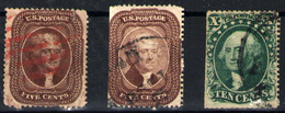 Estados Unidos  Nº 11a, 12/13. Año 1857/60 - Used Stamps