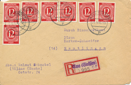 AUE  - 1946  -  R-Brief Nach Reutlingen - Zone Anglo-Américaine